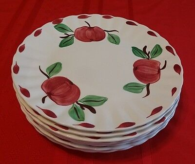 """Blue Ridge Southern Pottery Hand Painted BEADED APPLE 9 3/8"""" Luncheon Plates"""
