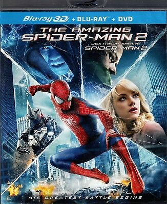 USED BLU RAY 3D + BLU RAY + DVD - THE AMAZING SPIDERMAN 2 - B.J. Novak, Dane DeH