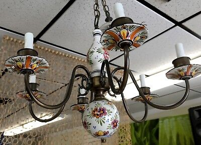 Vintage  Italian Floral Porcelain Ceramic & Brass 6 Arm Light Chandelier