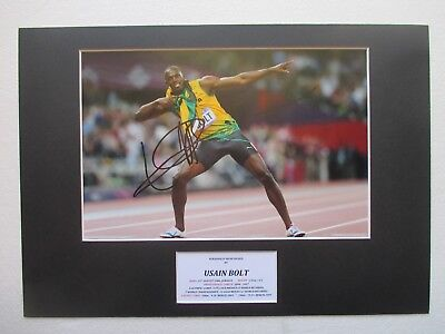 Usain Bolt Olympic & World Champion Hand Signed A3 Mounted Photo Display - Coa