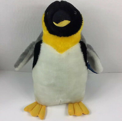 Penguin King Plush Stuffed Animal Toy Doll Gray Black Yellow
