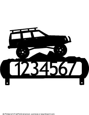 Lifted Jeep Cherokee >> Lifted Jeep Cherokee Mailbox Topper House Number Textured