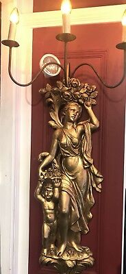 """Pr. GORGEOUS HUGE ANTIQUE REAL GOLD 52"""" WALL SCONCES MUSEUM QUALITY"""