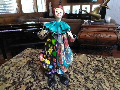 "VINTAGE Paper Mache Clown Marked Mexico On Bottom Of Left Foot 10"" Tall"