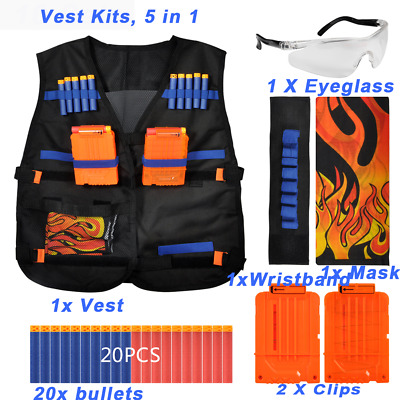 Tactical Vest Sets +Clips+Wristband+Eyeglass+Mask For Nerf N-Strike Kids Toy Gun