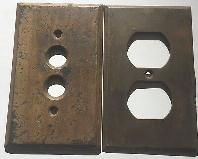 Vintage Brass Outlet & Push Button Switch Plates- Worn/Scratched Patina