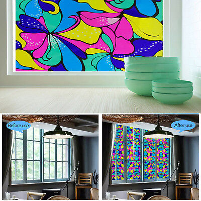 60cm Colorful FLORAL Frosted Decorative Window Glass Film Stained Vinyl Privacy