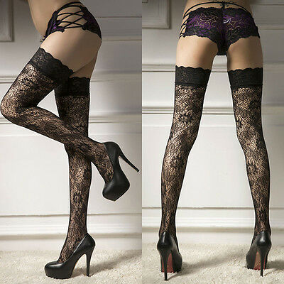 Women Swxy Sheer Lace Top Thigh-Highs Stockings Garter Belt Suspender Set