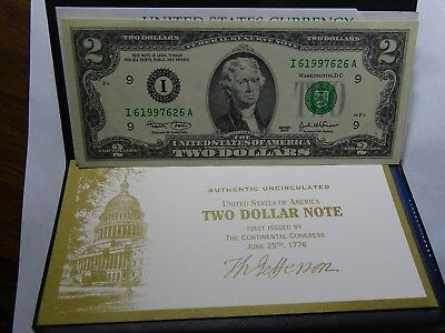 $2 TWO DOLLAR $2 BILL Uncirculated With Certificate and Case