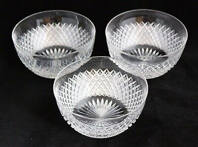 ANTIQUE Set 3 AMERICAN BRILLIANT CUT GLASS CRYSTAL ABP strawberry Finger Bowls