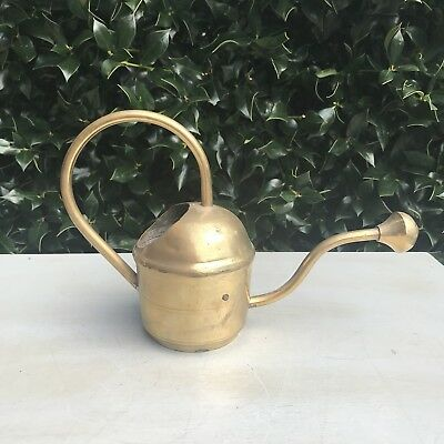 Vintage Round Watering Can Brass Long Thin Spout Solid Brass Decor Garden Plant