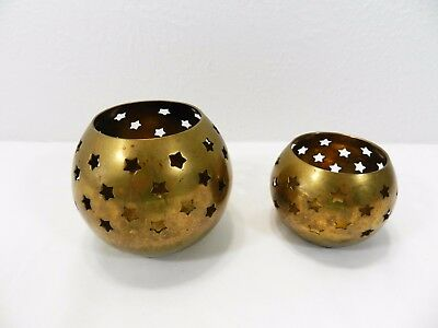 Lot of 2 Solid Brass - Candle Cups Holders Votive - India - Star Cut Out VTG
