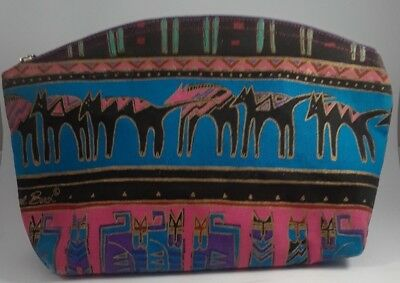 Laurel Burch Cats & Dogs Organizer Cosmetic Bag Zippered Cotton Canvas Pink Blue