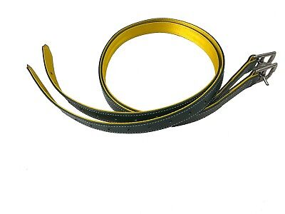 PVC Stirrup Leathers/straps - Forest Green & Yellow