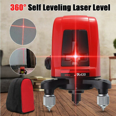AK435 360 Degree Self-leveling Cross Laser Level Red 2 Line 1 Point Tool + Bag
