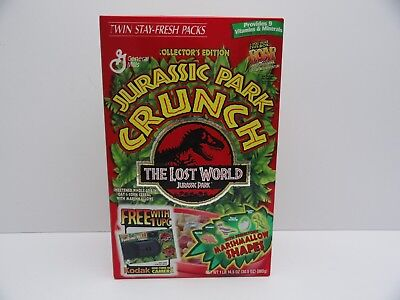 JURASSIC PARK CRUNCH TWIN STAY-FRASH PACKS Cereal Box 1997 NEW UNOPENED & RARE !