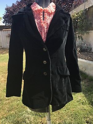 "VINTAGE 1960s/1970s SAKS FIFTH AVE ""YOUNG DIMENSIONS"" BLACK VELVET BLAZER XS/S"