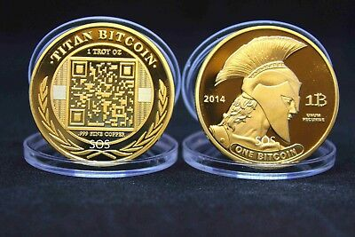 Gold Plated Titan Commemorative Coin BTC Bitcoin Collectible Miner Coin Gifts