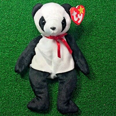 Ty Beanie Baby Fortune Panda Bear 1997 RETIRED Plush Toy - MWMT - Free Shipping