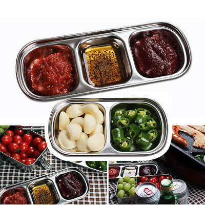 Stainless Steel 1/2/3/4 Sections Divided Dish Snack Dinner Plate Food Container