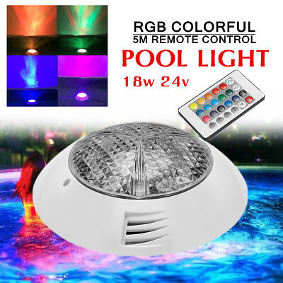 18W 24V LED RGB Colorful Swimming Pool Spa Light Remote Control Underwater Lamp