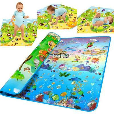 2mx1.8m Double Sides Baby Kids Play Mat Floor Rug Picnic Cushion Crawling Mat