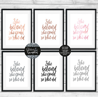 Fashion print she believed she could so she did rose gold text wall art