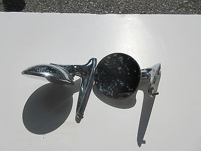 SET of VINTAGE ROUND CHROME SIDE REAR VIEW MIRRORS RAT ROD,CHEVY,FORD,MOPAR 1501