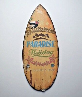 Hanging Wooden Plaque Sign Surfboard Summer Tropical Beach