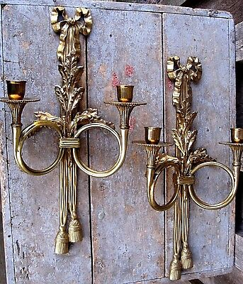 Pair Vintage Ribbon & Tassel Brass Wall Sconce Home Garden Taper Candle Holders