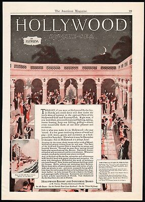 Vintage magazine ad HOLLYWOOD BY THE SEA in Florida patio scene 1926 n-mint cond