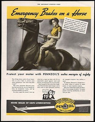 Vintage magazine ad PENNZOIL 3 owls and woman on horse pictured 1937 n-mint cond