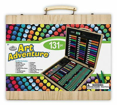 131pc Artists Wooden Art Case Colouring Pencils Painting Set Childrens/Adults