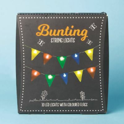 Bunting String Light Camping Festivals 10 LEDs + Coloured Bunting 2m