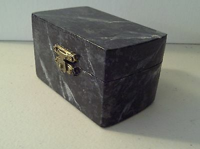 Faux black white gray veined marble wooden hinged trinket box