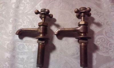 Vintage Brass Sink Water Faucets w/Porcelain H and C, Individual