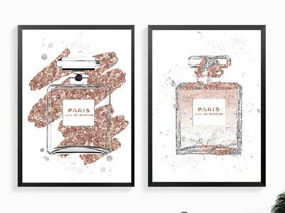 Fashion Art Abstract Faux Glitter Rose Gold Silver perfume bottle print