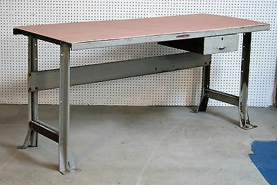 1940's Standard Pressed Steel HALLOWELL STEEL WORKBENCH with draw ENGINEER TABLE