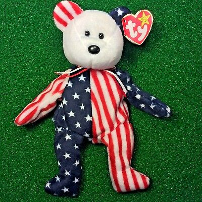 Ty Beanie Baby Spangle The White Face USA Patriotic Plush Toy MWMT Free Shipping