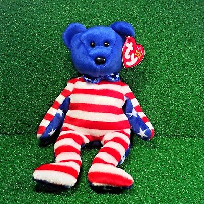 NEW Ty Beanie Babies LIBERTY (Blue Face) USA PATRIOTIC Plush Toy MWMT Ships FREE