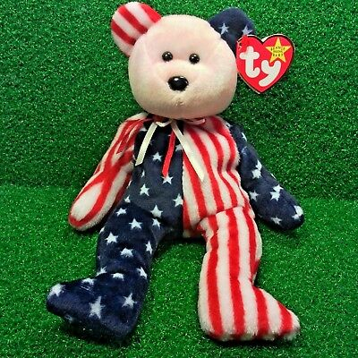 Ty Beanie Baby Spangle The Pink Face USA Patriotic Plush Toy MWMT Free Shipping