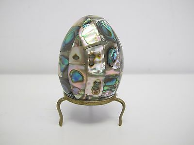 Vintage Egg Covered In Abalone Shell Panels With Metal Stand