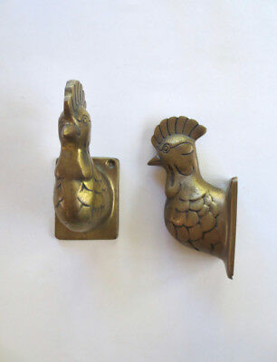 Solid Brass Chicken Heads Wall Hooks Pair Rooster Apron Towel Hangers Farmhouse