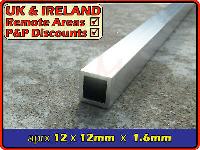 Aluminium Square Tube (box section,profile,pipe,tubing,alloy,alu)| 12.7mm ⫽ 1/2""