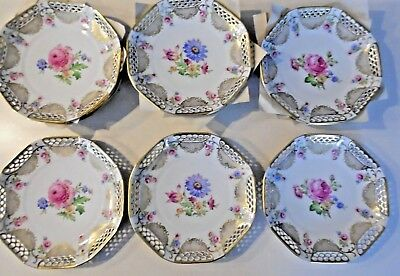 6 Schwarzenhammer, Bavaria,Germany Reticulated, Gold Rim, 10 Inch Floral Plates