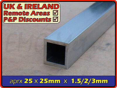 Aluminium Square Tube (box section,profile,pipe,tubing,alloy,alu)| 25mm ⫽ 25.4mm