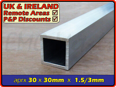 Aluminium Square Tube (box section,profile,pipe,tubing,alloy,alu) | 32mm ⫽ 30mm