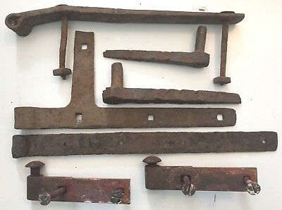 Antique Wrought Iron Pintle Hinge Parts- Rustic & Primitive Hammered Iron