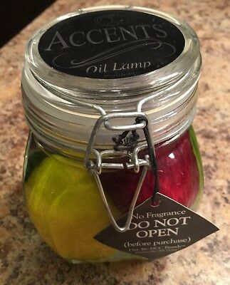 Accents Oil Lamp Refillable Unopened Paraffin Lamp Glass Jar Fruit Cherry Apple