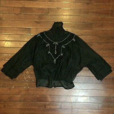 Victorian Silk & Lace Vintage Womens XS Mourning Blouse Top